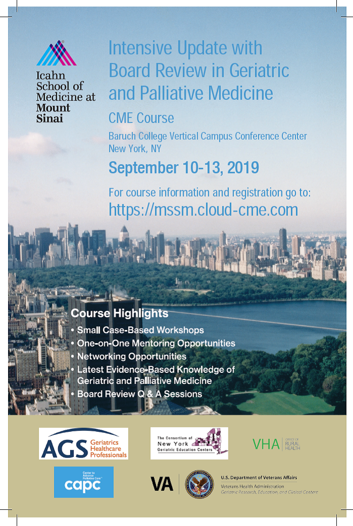 2019 Intensive Update with Board Review in Geriatric and Palliative Medicine Banner