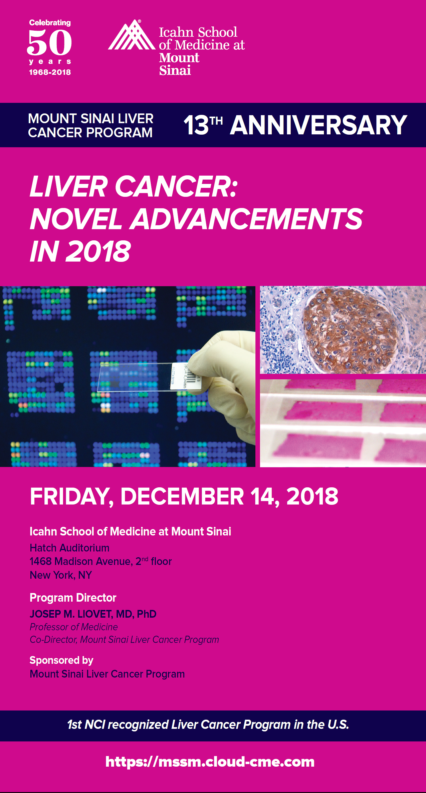 Mount Sinai Liver Cancer Program, 13th Anniversary. LIVER CANCER: NOVEL ADVANCEMENTS IN 2018 Banner
