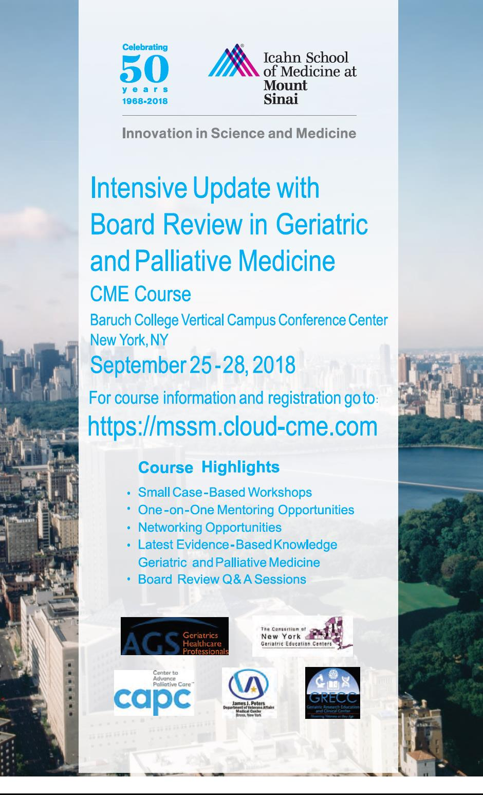 2018 Intensive Update with Board Review in Geriatric and Palliative Medicine Banner