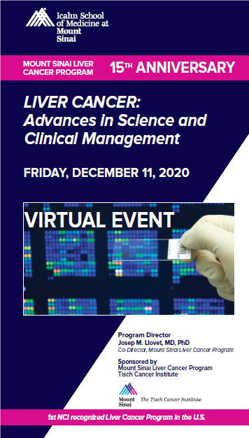 "MOUNT SINAI LIVER CANCER PROGRAM. FIFTHTEENTH ANNIVERSARY. ""LIVER CANCER: ADVANCES IN SCIENCE AND CLINICAL MANAGEMENT"" Banner"
