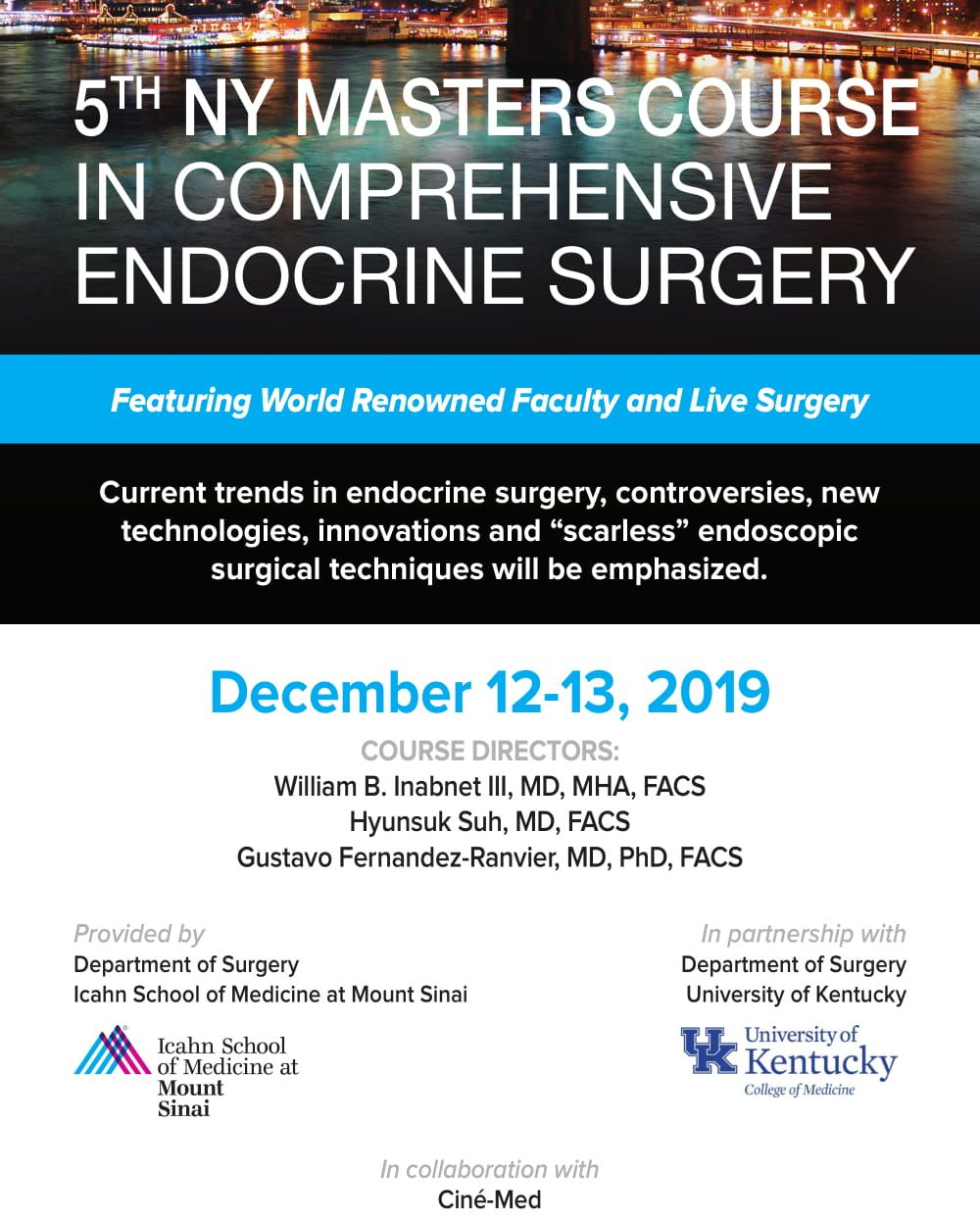 5th NY Masters Course in Comprehensive Endocrine Surgery Banner