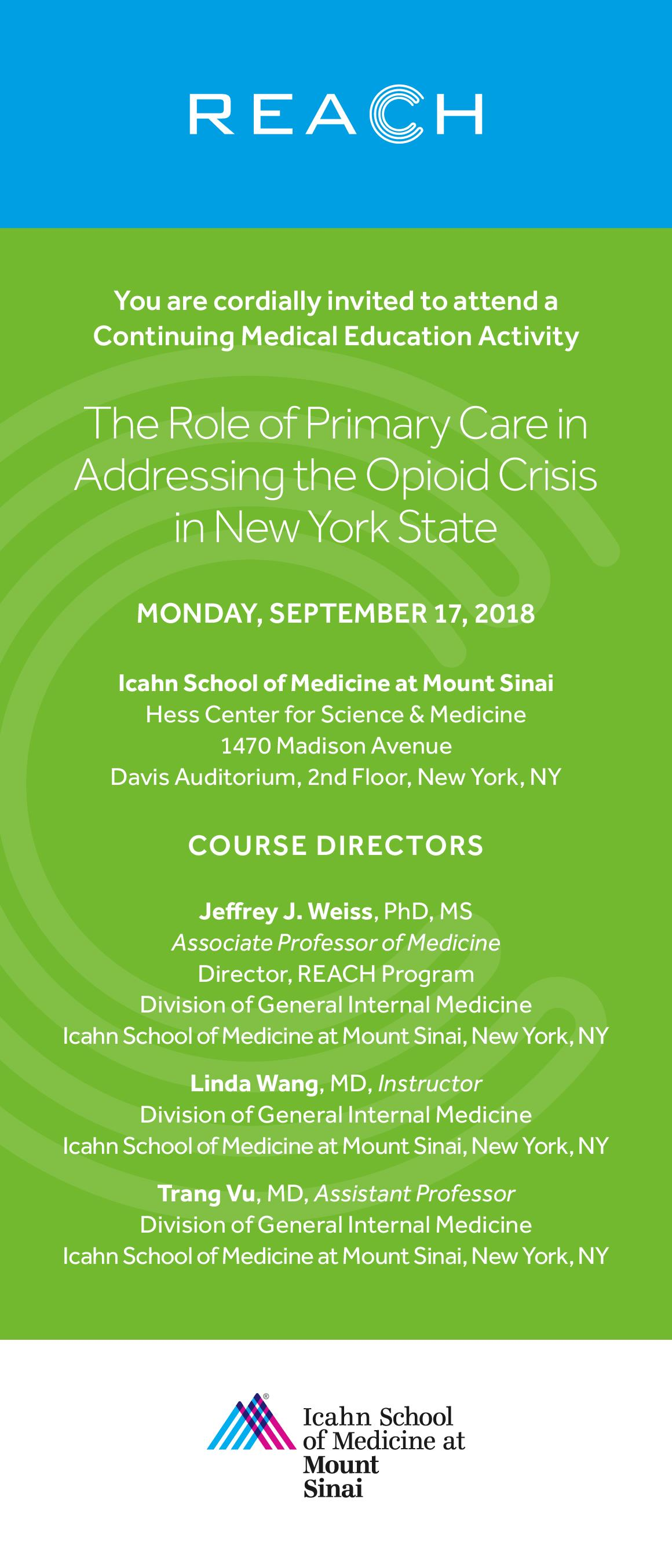 The Role of Primary Care in Addressing the Opioid Crisis in New York State Banner